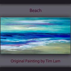 Sea art Original abstract painting beach wave on by elseart, $359.00