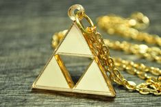Legend of Zelda Triforce Necklace and Earring Set by TrinketySlot, $12.00