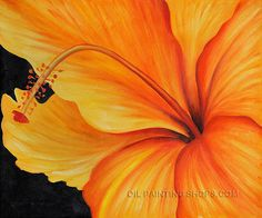 """Enchant Reproduction Oil Flower Oil Painting Hibiscus Golden Hibiscus, Size: 24"""" x 20"""", $79. Url: http://www.oilpaintingshops.com/enchant-reproduction-oil-flower-oil-painting-hibiscus-golden-hibiscus-1778.html"""