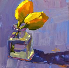 """"""" Yellow Tulips """" Demo 8x8"""" Acrylic (SOLD)     Here is my painting demo from Day 2 of the workshop. I always time the demos, because ..."""