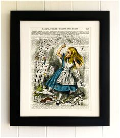 ART PRINT on old antique book page - Alice in Wonderland, Playing Cards, Vintage Upcycled Wall Art Print Encyclopaedia Dictionary Page, Gift by thebluebutterflyemp on Etsy