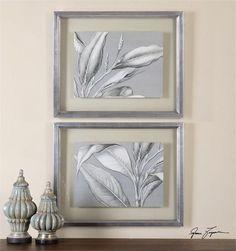 Uttermost Floating Leaves Floral Art S/2 (41537)