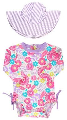 03bb60ec22 RuffleButts Blooming Buttercups One-Piece Rashguard Swimsuit & Hat Set