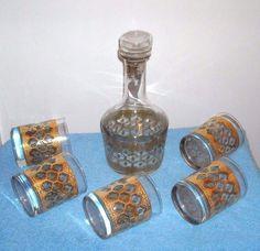 CULVER VALENCIA (5) DOUBLE OLD FASHION AND DECANTER MID CENTURY MODERN SET | Collectibles, Barware, Bar Sets | eBay!