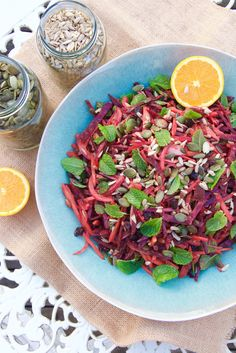 A deliciously zingy salad with beetroot, carrot, fresh mint, crunchy seeds, juicy raisins and a gorgeous orange balsamic dressing. All ready in under 15 minutes!
