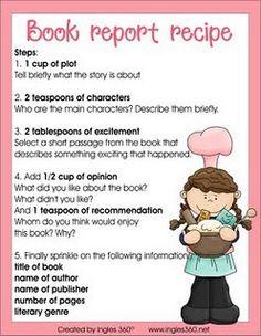 Book Report Recipe school-ideas