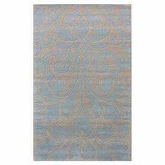 Wool rug with a damask-inspired motif. Hand-tufted in India.  Product: RugConstruction Material: WoolColor: Light blueFeatures:  Hand-tuftedMade in India Note: Please be aware that actual colors may vary from those shown on your screen. Accent rugs may also not show the entire pattern that the corresponding area rugs have.Cleaning and Care: Spot clean