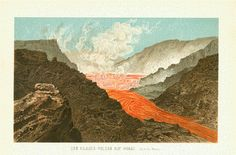 """Antique Prints of Volcanos and Volcanology - Vulkane """"Der Kilauea-Vulkan auf Hawaii""""  Very impresive chromolithograph published 1902."""