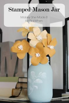 Such a beautiful and easy idea! DIY Stamped Mason Jar tutorial.