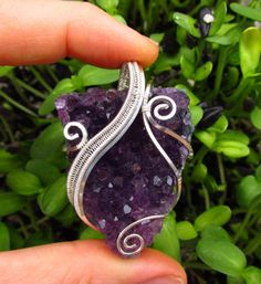 Amethyst Druzy Wire Wrapped Sterling Silver Chunky Swirly Purple Crystal Pendant Triangle