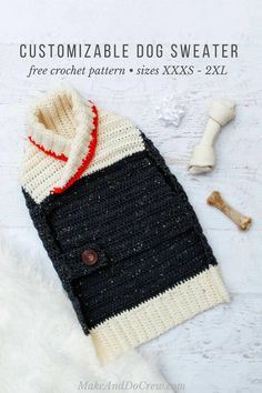 This free easy crochet dog sweater pattern fits very small medium and large dogs and is perfect for winter! Easy pattern appropriate for beginners in sizes Crochet Dog Sweater Free Pattern, Dog Coat Pattern, Crochet Dog Patterns, Knit Dog Sweater, Sweater Patterns, Crochet Ideas, Large Dog Sweaters, Pet Sweaters, Mode Crochet