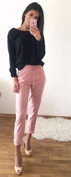 Black Top + Pink Pants + Heels                                                                             Source