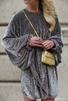 Don't leave that sparkly number in the back of your wardrobe all year, street style it up