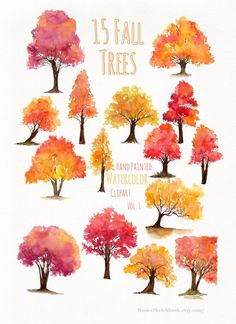 Fall Tree Clipart Colourful fall tree cliparts, yellow, orange, red f. Fall Tree Painting, Tree Watercolor Painting, Watercolor Paintings For Beginners, Watercolor And Ink, Watercolor Flowers, Watercolor Portraits, Fall Paintings, Tree Paintings, Watercolor Artists