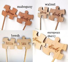 Puzzle Cake Topper Two Puzzle Pieces Wedding by CorkCountryCottage
