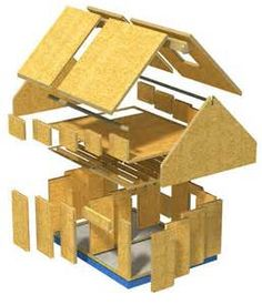 House construction using SIP panels. For more on the features and techniques of SIP wall and roof construction, take a look at Structural Insulated Panel Construction. Sip House, Sips Panels, Building An Addition, Oak Frame House, Structural Insulated Panels, 3d Modelle, Building Systems, Building Materials, Home Additions