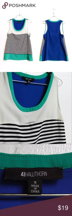 Stitch Fix Striped Colorblock Tank Flowy fit racerback tank in white royal blue and green colorblock with stripes. Like new condition. 41 Hawthorn brand. stitch fix Tops