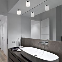 Minimalist and compact ceiling flush light for bathroom Cayo. Ideal for use as a washbasin lamp and bathroom mirror. Galvanized steel and glass structure. Flush Lighting, Flush Ceiling Lights, Bathroom Lighting, Compact Bathroom, Glass Structure, Spot Light, Guest Bathrooms, Galvanized Steel, Double Vanity