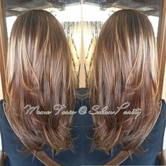 Sunkissed golden blonde highlights on a warm golden brown base.
