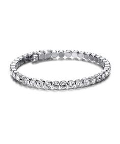 Take a look at this Crystal SWAROVSKI ELEMENTS & Silver Tennis Bracelet by MESTIGE on #zulily today!