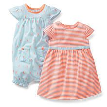 Carter's Girls 2 Pack Sail Boat Printed Sleeveless Romper and Striped Cap Sleeve Dress with Diaper Cover