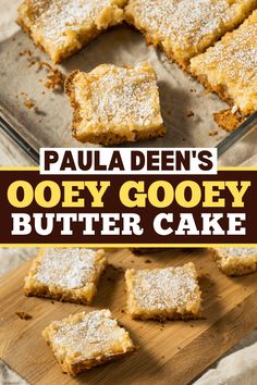 This recipe for Paula Deen's ooey gooey butter cake is out of this world! Find out how to make it, plus, get tips for making the best butter cake. Southern Desserts, Easy Desserts, Delicious Desserts, Cake Mix Recipes, Dessert Recipes, Cake Mixes, Ooey Gooey Butter Cake, Vegetarian Cake, Soften Cream Cheese