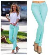 Mint Skinny Jeans Jeggings Size Small So pretty for Spring!!  Mint skinny jean Jeggings, 5 pockets, belt loops, button and fly zipper, 68% Cotton/27% Polyester/5% Spandex.  Size Small.  No Trades, Price Firm unless Bundled.  BUNDLE 3 OR MORE ITEMS FOR 15 % OFF. Boutique Pants Leggings