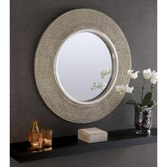 Rome Large Round New Wall Mirror Modern Champagne Silver Frame Art Deco 31 Diam Large Round Wall Mirror, Silver Wall Mirror, Round Mirrors, Circular Mirror, Mirror Vanity, Mirror Ideas, Mirror Mirror, New Wall, Mirror Wall Collage