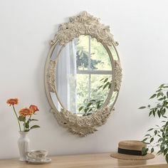 Barcelona Cream and Brushed Gold Oval Wall Mirror - x - CFS Furniture UK Mantle Mirror, Hallway Mirror, Mirror Hanging, Mirrors For Sale, Round Mirrors, Framed Mirrors, Alouette, Ornate Mirror, Home