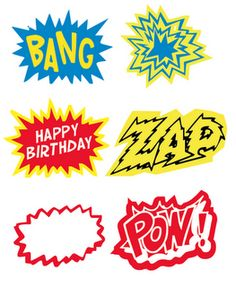 Free superhero/ comic cupcake toppers printable.