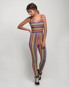 Unitard in Over The Rainbow Stripe by Motel