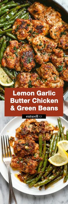 Lemon Garlic Butter Chicken and Green Beans Skillet – – So addicting! This Lemon Garlic Butter Chicken and Green Beans Skillet – – So addicting! Chicken Skillet Recipes, Skillet Food, Recipe Chicken, Keto Chicken, Chicken Green Beans, Cooking Green Beans, Garlic Butter Chicken, Health Dinner, 21 Day Fix