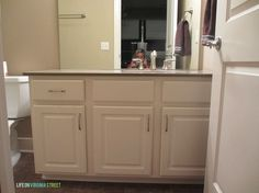Diy Painting Laminate Bathroom Cabinets bathroom vanity makeover using country chic paint | bathroom