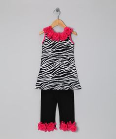 Take a look at this Black Zebra Rose Tunic & Black Leggings - Toddler & Girls by Popatu by Posh on #zulily today!
