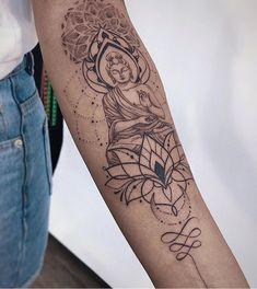 Angelika ferrous on i was creating this tattoo design for a nice lady sandra she got acquainted with my tattoo art in bali but we lost each other and she bouddha royal Buddha Tattoo Design, Buddha Tattoos, Mandala Tattoo Design, Body Art Tattoos, Hand Tattoos, Buddah Sleeve Tattoo, Buddha Lotus Tattoo, Arabic Tattoos, Tatoos