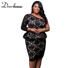 41415a94cb0 Dear lover Women Spring 2017 Peplum Party Dresses Plus Size Black Lace  Illusion Curvaceous One Shoulder Bodycon Dress LC61332-in Dresses from  Women s ...
