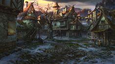 village square by VityaR83 Fantasy village Fantasy art landscapes Fantasy landscape