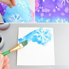 """This magic salt and watercolor snowflake art project for kids is so much fun! The snowflakes magically appear when you add the paint and the salt makes the painting look """"frosty"""". Snowflakes Art, Snowflake Craft, Snowflakes For Kids, Snowflake Template, Kids Crafts, Christmas Crafts For Kids, Clay Crafts, Felt Crafts, Winter Art Projects"""