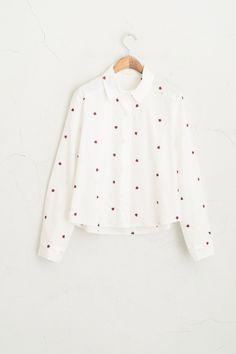 Ladybug Stitch Cropped Shirt, White, 100% Cotton