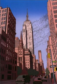 Guy Billout - Illustration - Empire State Building in Flight Marble Painting, City Painting, Oil Painting Abstract, Artist Painting, Abstract City, Ligne Claire, City Illustration, City Art, Art Oil