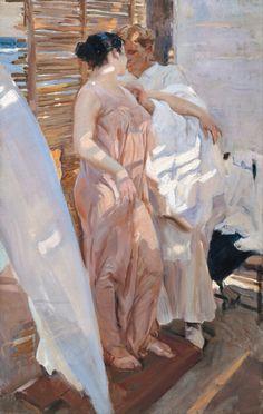 Joaquin Sorolla y Bastida - La Bata Rosa - 1916