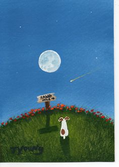 I've lost count of how many of this artist's prints I have...Jack Russell Terrier Dog abstract Folk art Print by ToddYoungArt