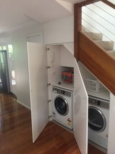 laundry under staircase - Google Search