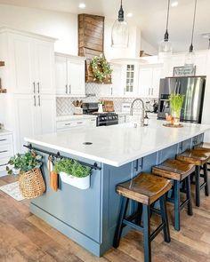 Kitchen Redo, Home Decor Kitchen, New Kitchen, Kitchen Remodel, Kitchen Design, Kitchen Ideas, Kitchen With Big Island, Decorating Kitchen, Sink On Island