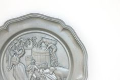 Vintage Wall Plate pewter decorative plate metal by MossAndBerry, $22.00