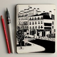Anna Lubinski - Croquis du jour: vue sur la rue. Sketch of the day: street view…