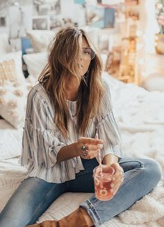 summer outfits Striped Boho Blouse + Skinny Jeans