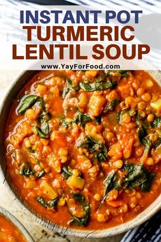 Warm up with this delicious and comforting Instant Pot lentil soup. A quick and easy vegan recipe full of fresh vegetables and earthy turmeric. Vegan Recipes Easy, Easy Dinner Recipes, Soup Recipes, Fall Recipes, Delicious Recipes, Crockpot Recipes, Diet Recipes, Clean Eating Snacks, Healthy Eating