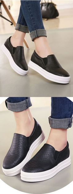 Black Snake Pattern Platform Shoes