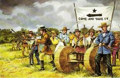 The Texas War of Independence - The Battle of Gonzales Mexican Army, Mexican American War, American History, Texas History, Us History, History Facts, Battle Of Gonzales, Mexican War Of Independence, Texas Texans